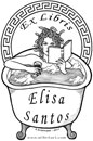 black and white ex libris drawing